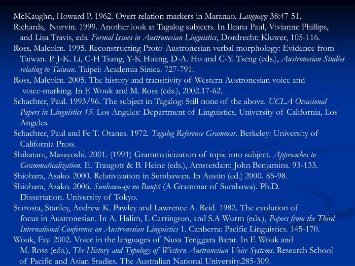 McKaughn, Howard P. 1962. Overt relation markers in Maranao.