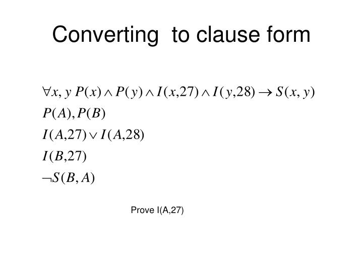 Converting  to clause form