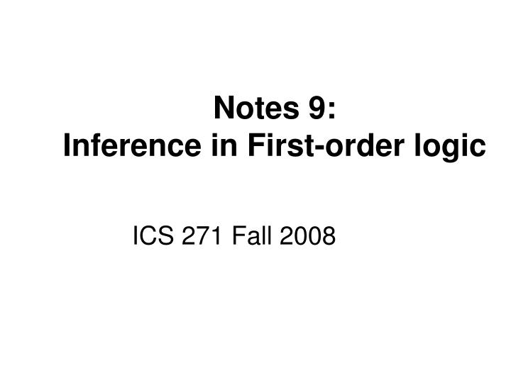 notes 9 inference in first order logic