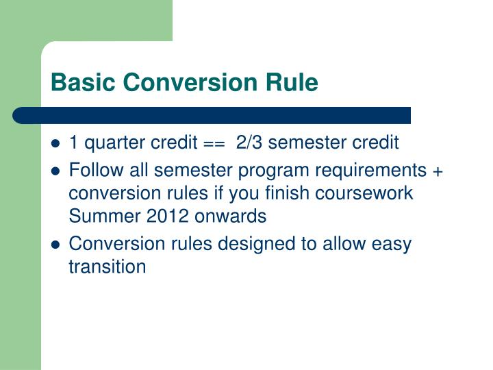Basic conversion rule