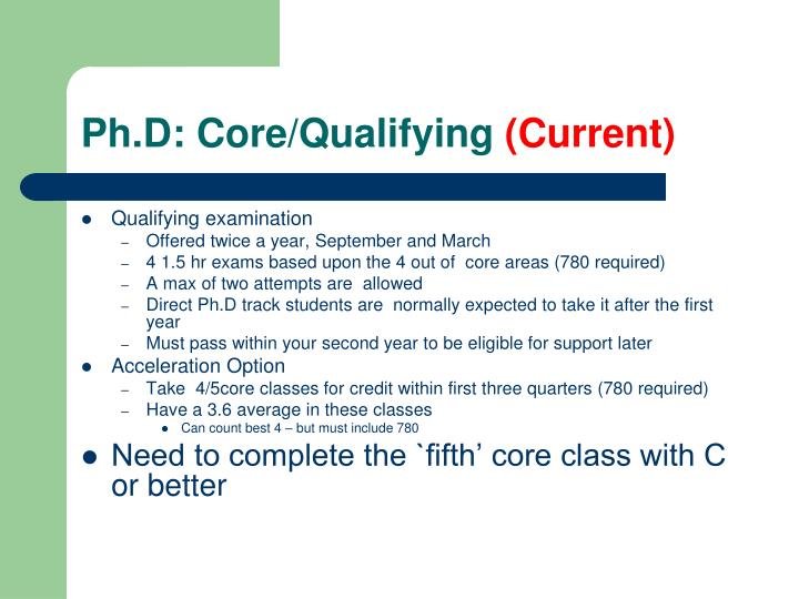 Ph.D: Core/Qualifying