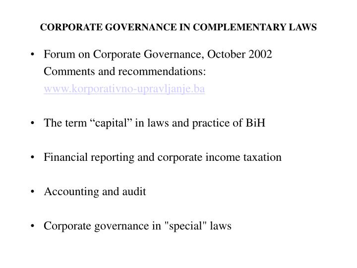 CORPORATE GOVERNANCE IN COMPLEMENTARY LAWS