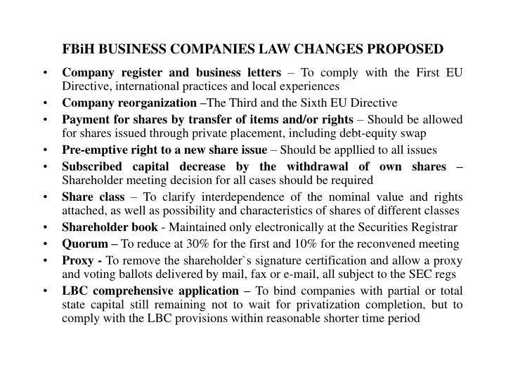 FBiH BUSINESS COMPANIES LAW CHANGES PROPOSED