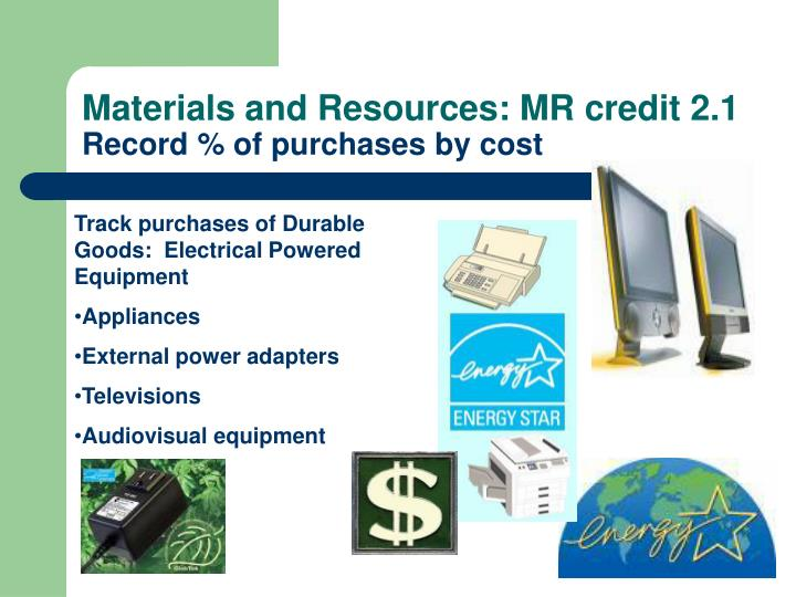 Materials and Resources: MR credit 2.1
