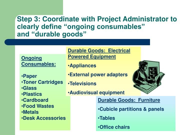 "Step 3: Coordinate with Project Administrator to clearly define ""ongoing consumables"""