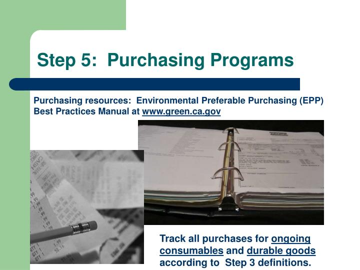 Step 5:  Purchasing Programs