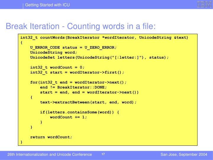 Break Iteration - Counting words in a file: