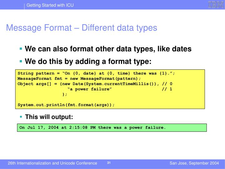 Message Format – Different data types