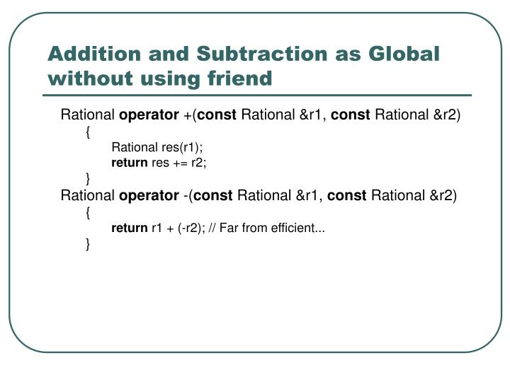 Addition and Subtraction as Global