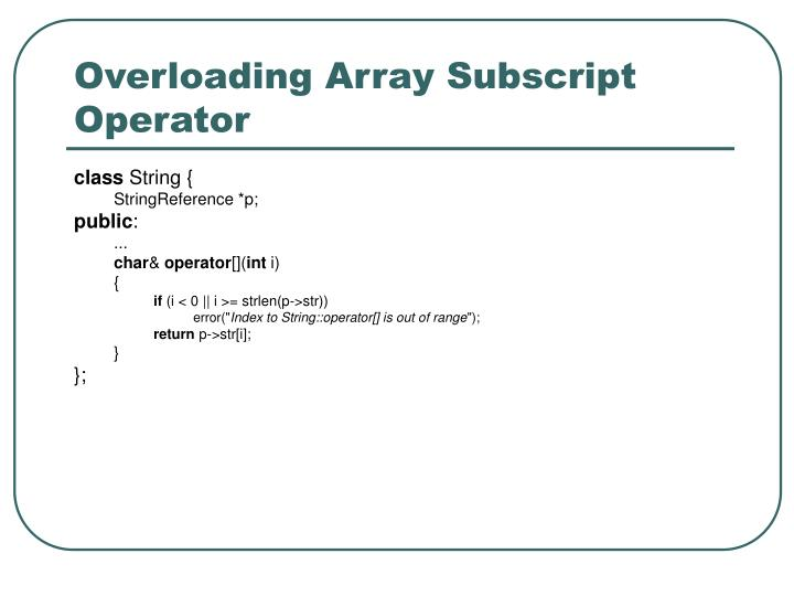 Overloading Array Subscript Operator