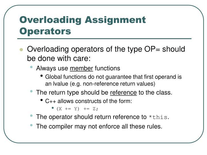 Overloading Assignment Operators
