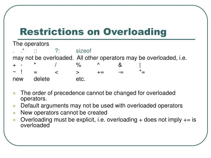 Restrictions on overloading