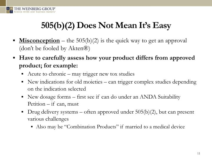 505(b)(2) Does Not Mean It's Easy
