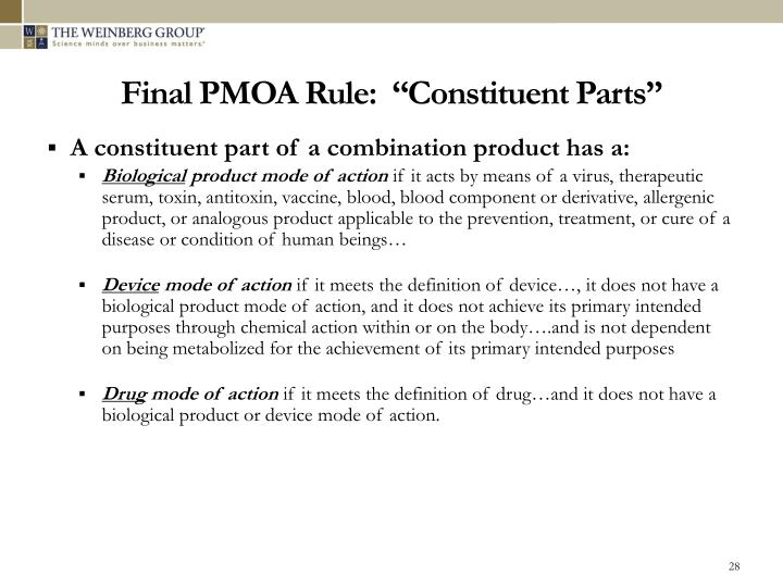 "Final PMOA Rule:  ""Constituent Parts"""