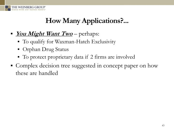 How Many Applications?...