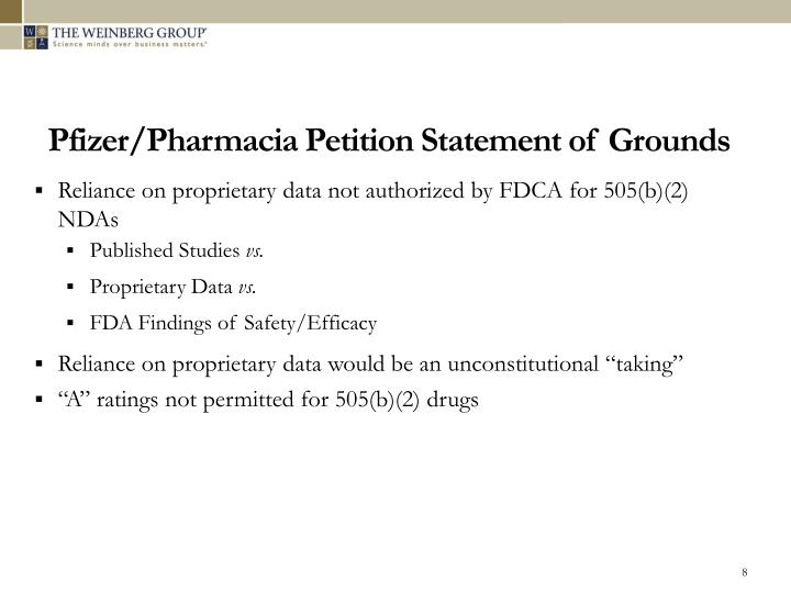 Pfizer/Pharmacia Petition Statement of Grounds