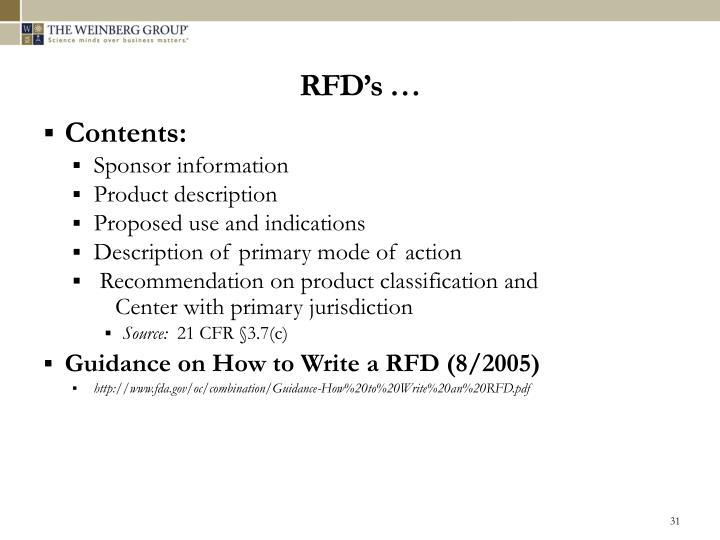 RFD's …