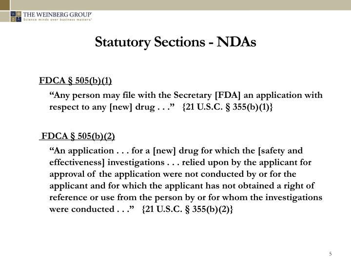 Statutory Sections - NDAs