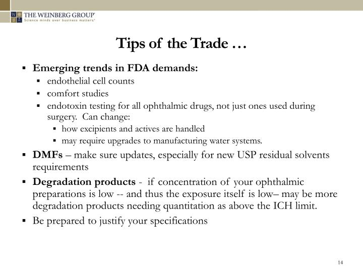 Tips of the Trade …