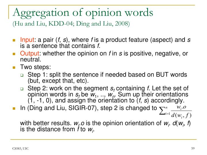 Aggregation of opinion words