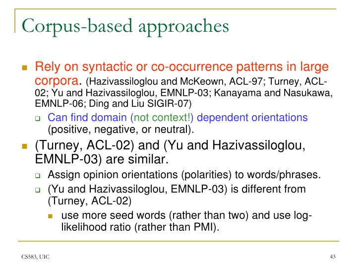 Corpus-based approaches