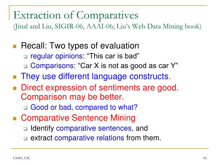 Extraction of Comparatives