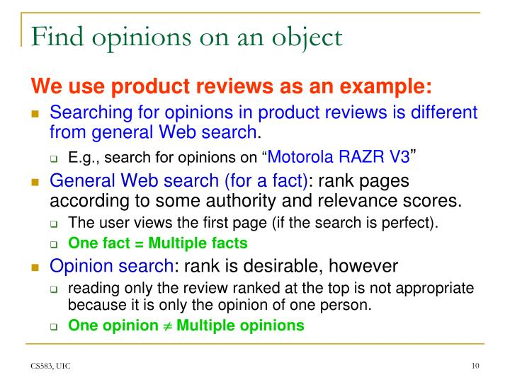 Find opinions on an object