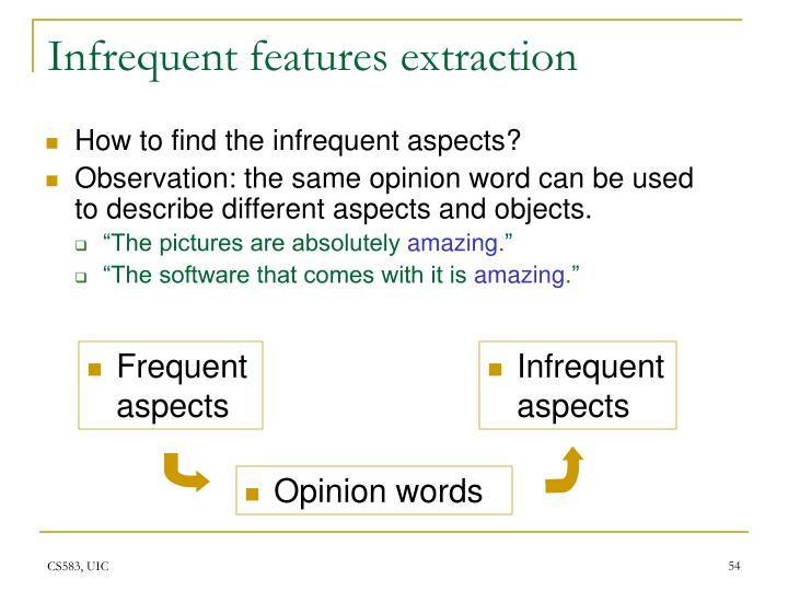 Infrequent features extraction