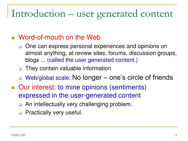 Introduction user generated content