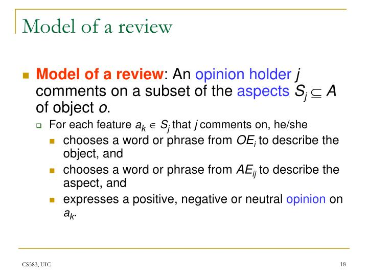 Model of a review