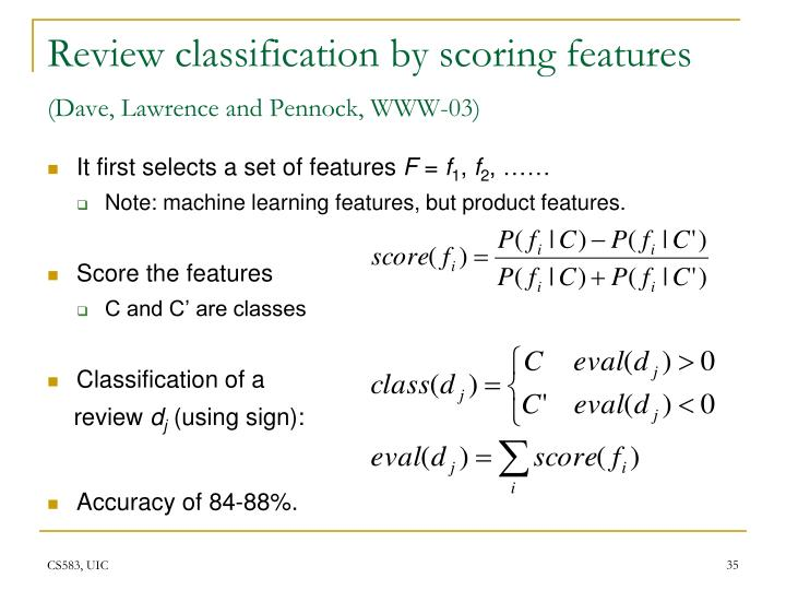 Review classification by scoring features