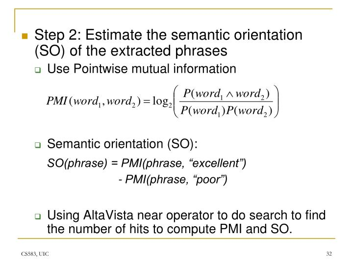 Step 2: Estimate the semantic orientation (SO) of the extracted phrases