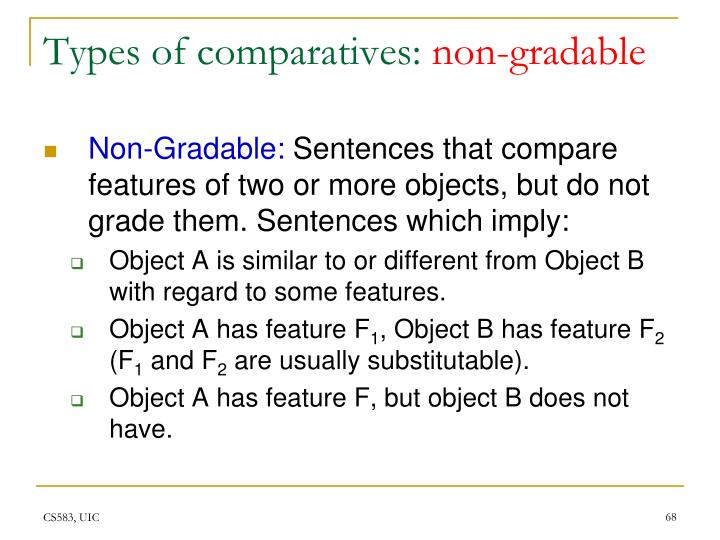 Types of comparatives:
