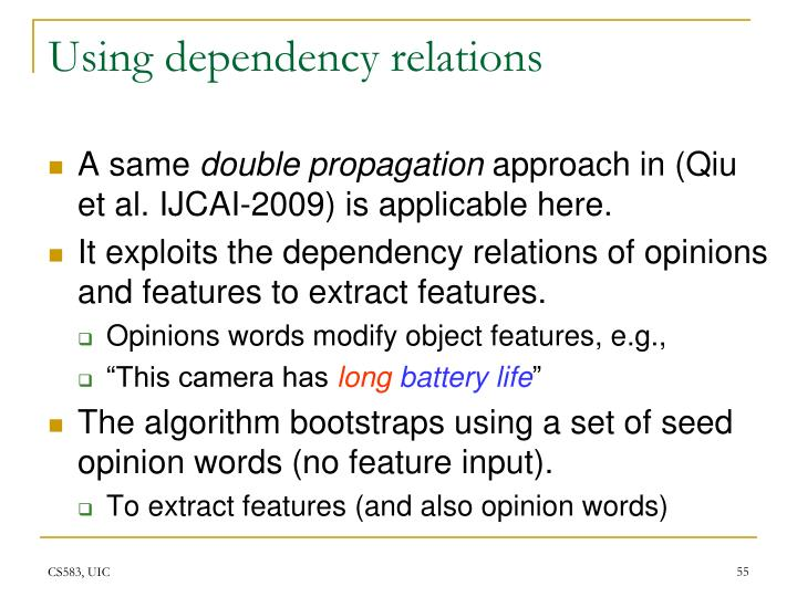 Using dependency relations