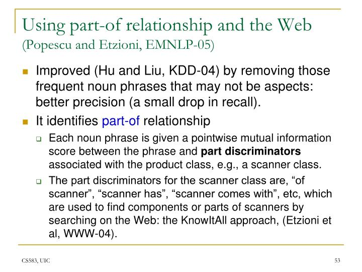 Using part-of relationship and the Web