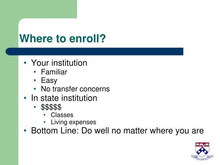 Where to enroll?