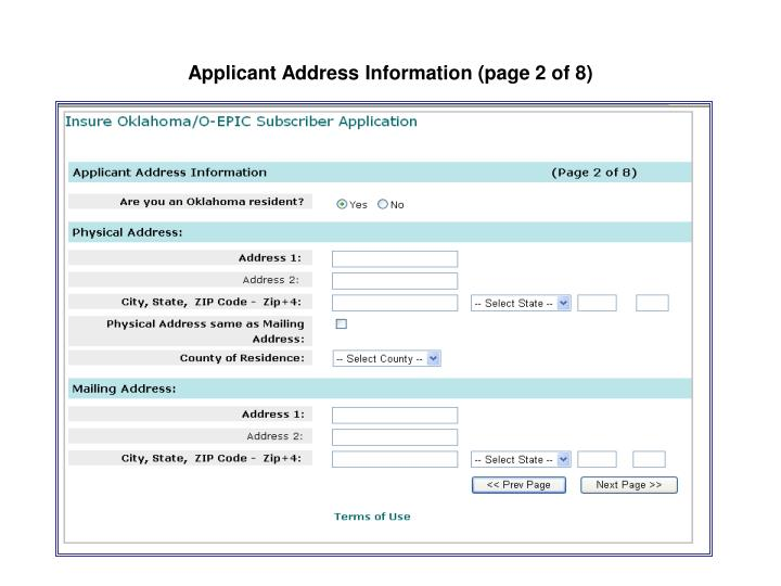 Applicant Address Information (page 2 of 8)