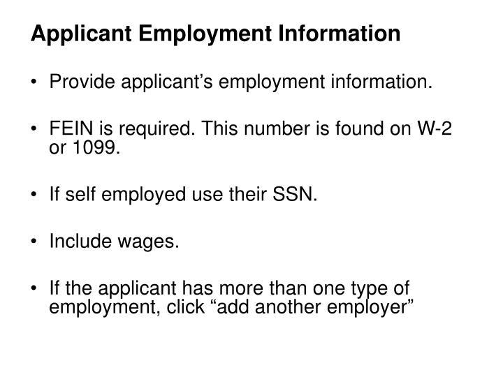 Applicant Employment Information