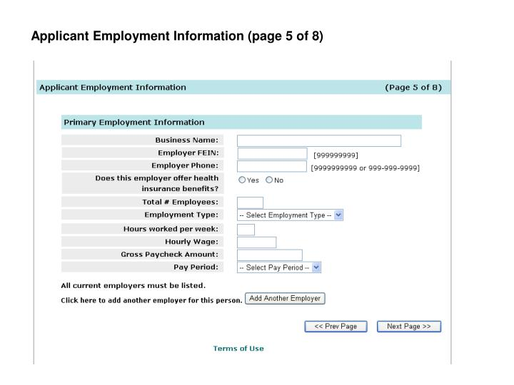 Applicant Employment Information (page 5 of 8)