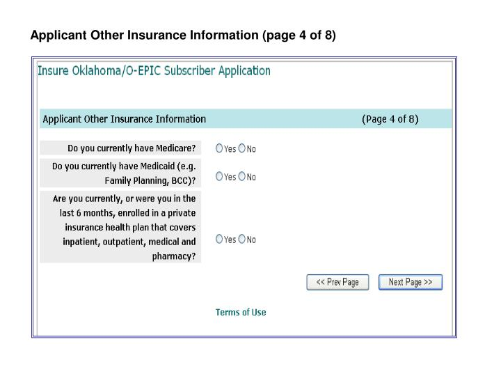 Applicant Other Insurance Information (page 4 of 8)