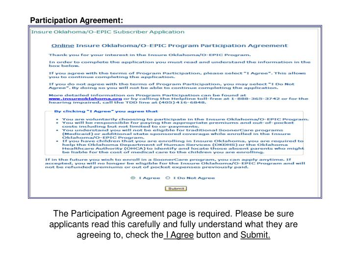 Participation Agreement: