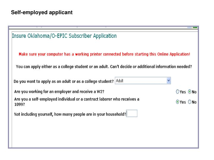 Self-employed applicant