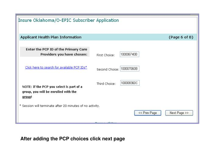 After adding the PCP choices click next page