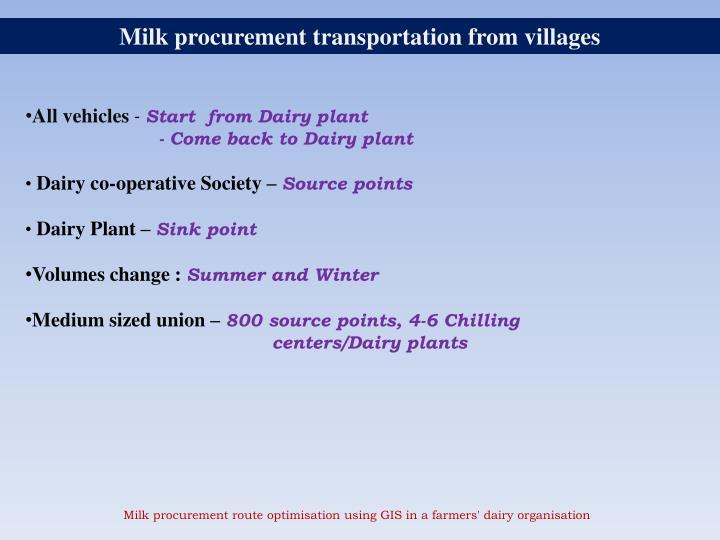 Milk procurement transportation from villages