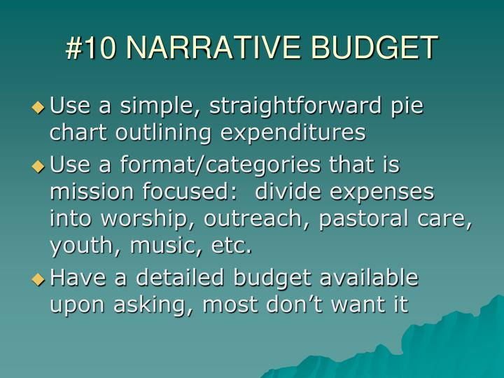 #10 NARRATIVE BUDGET