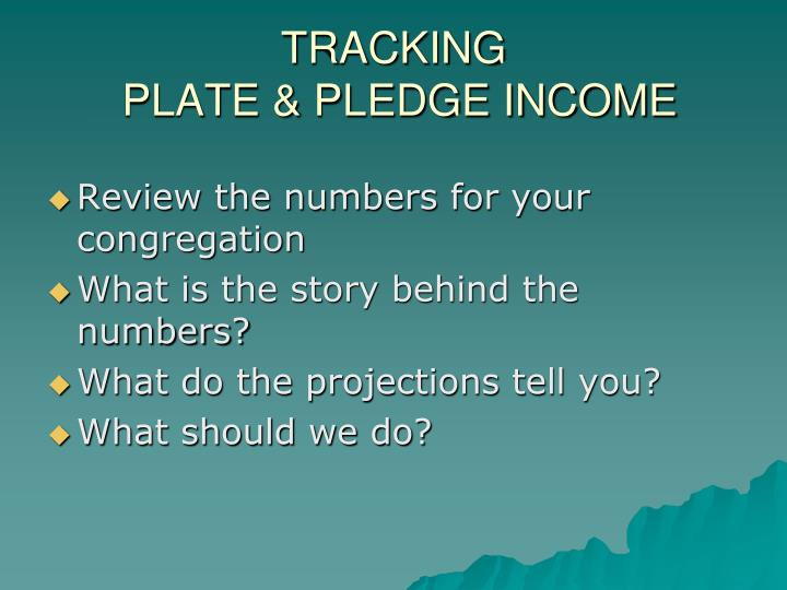 Tracking plate pledge income