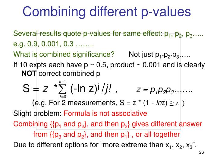 Combining different p-values