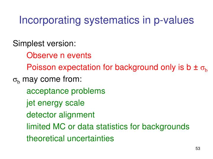 Incorporating systematics in p-values