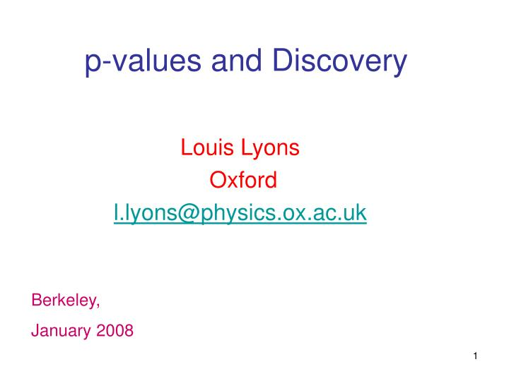 p-values and Discovery