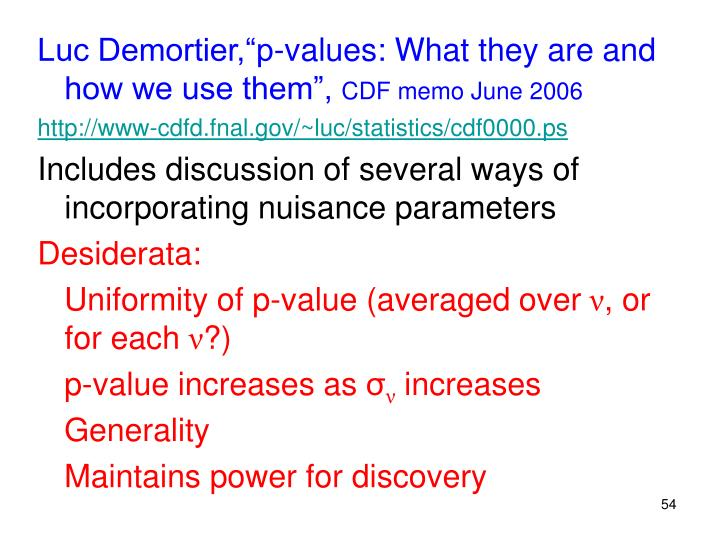 """Luc Demortier,""""p-values: What they are and how we use them"""","""